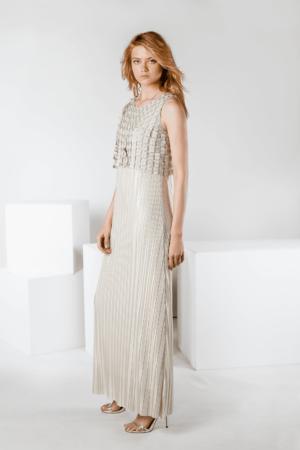 vestido plisado largo