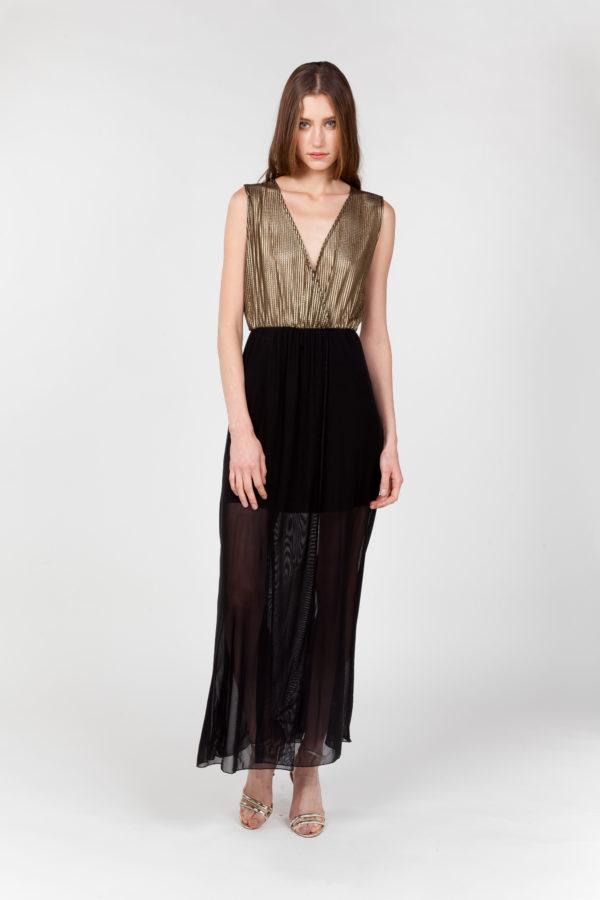 vestido largo rejilla tul frontal 2