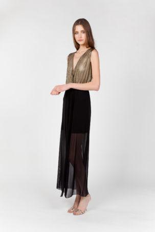 vestido largo rejilla tul lateral