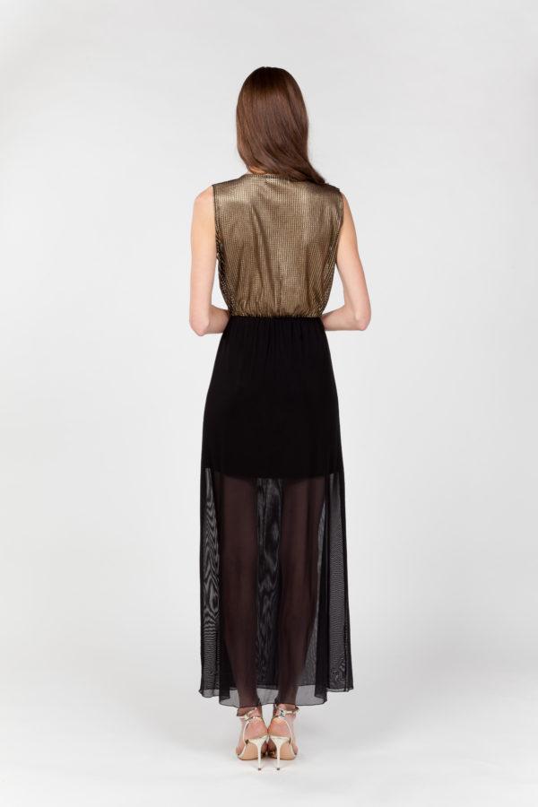 vestido largo rejilla tul espalda