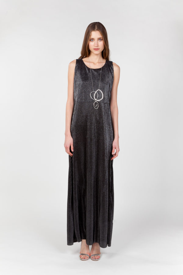 vestido largo laminado plateado frontal