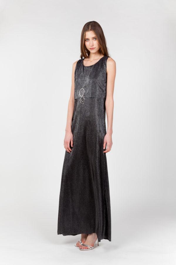 vestido largo laminado plateado lateral