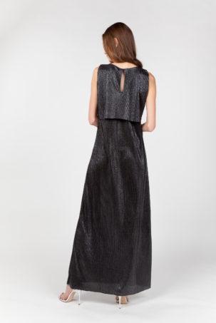 vestido largo laminado plateado espalda