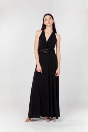 vestido largo negro frontal