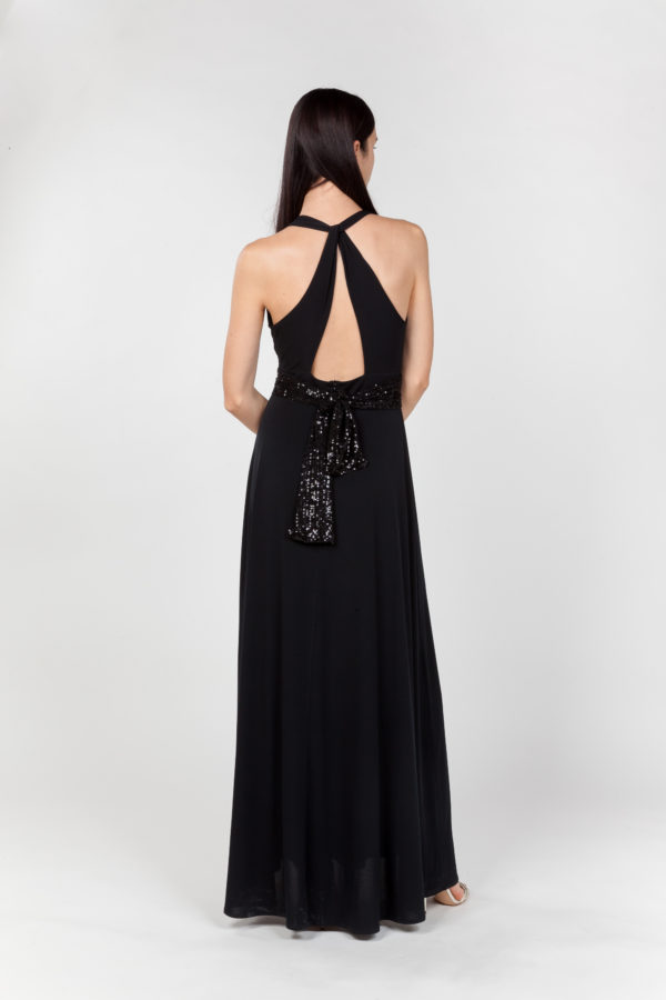 vestido largo negro espalda