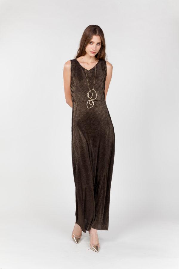 vestido largo laminado frontal