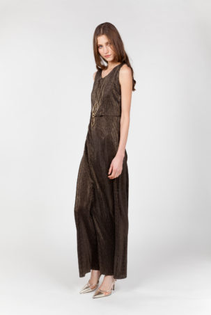 vestido largo laminado lateral
