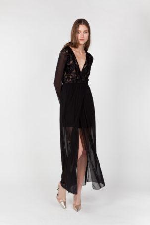 vestido largo blonda lateral