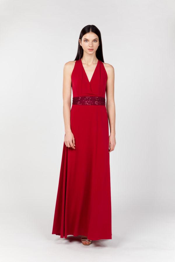 vestido largo rojo frontal