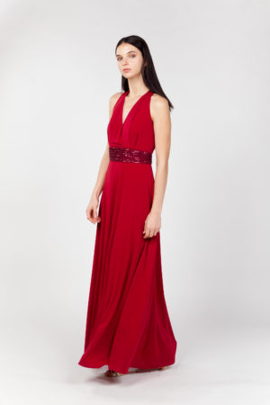 vestido largo rojo lateral