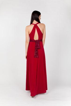 vestido largo rojo espalda