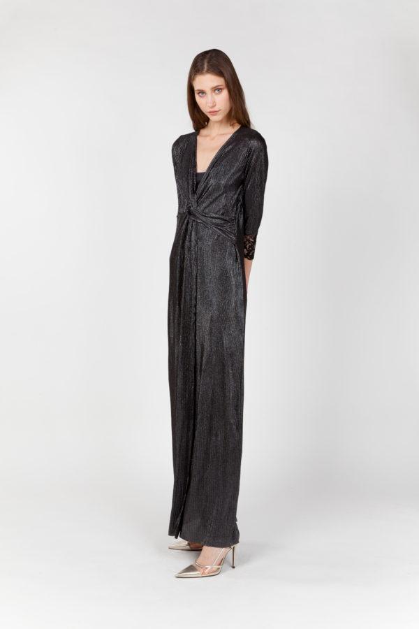 vestido laminado nudo plateado lateral