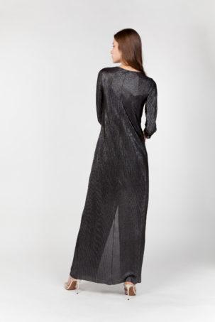 vestido laminado nudo plateado espalda
