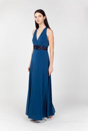 vestido largo azul lateral