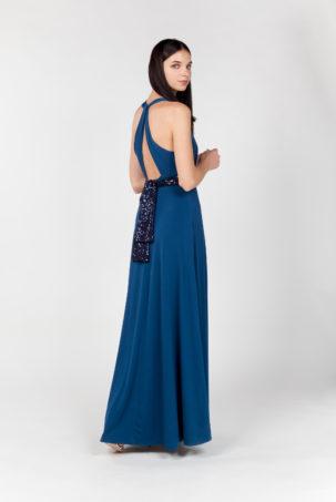 vestido largo azul espalda