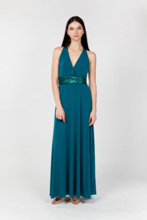 vestido largo verde frontal