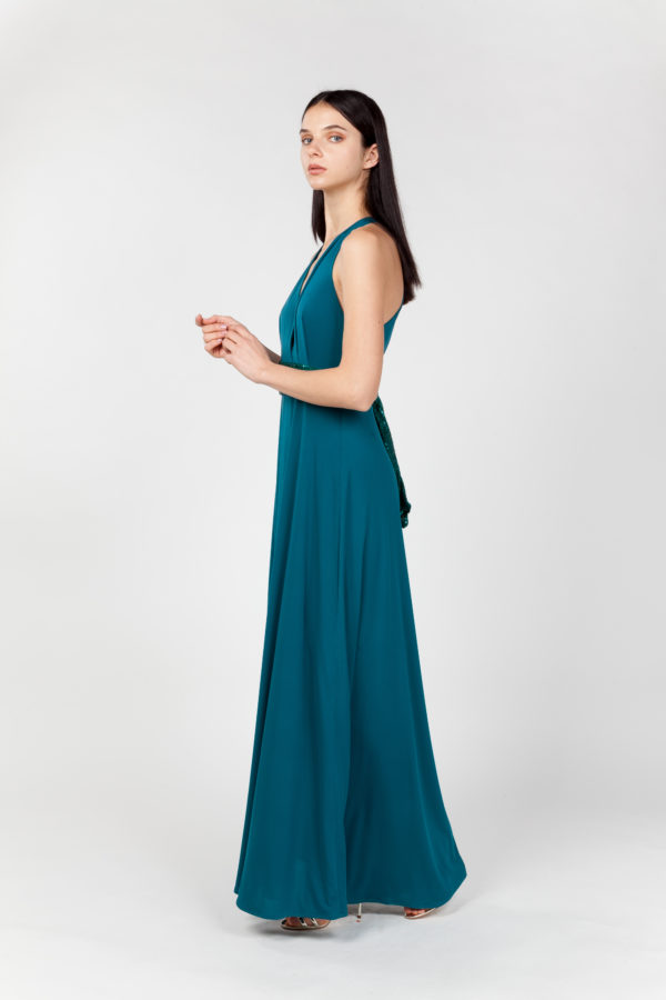 vestido largo verde lateral
