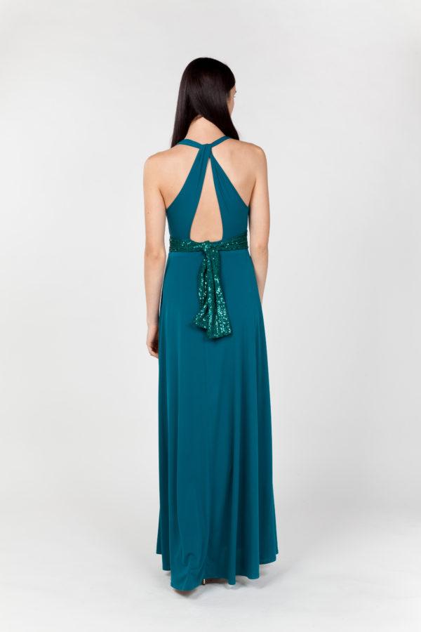 vestido largo verde espalda