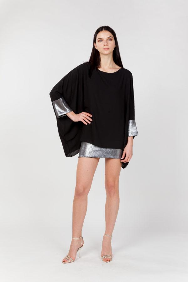 vestido corto lentejuelas negro frontal manga