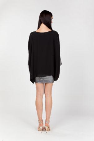 vestido corto lentejuelas negro espalda