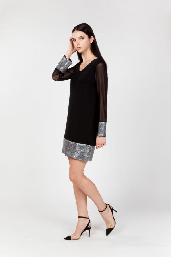 vestido corto tul y lentejuelas lateral