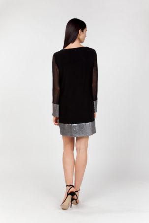 vestido corto tul y lentejuelas espalda