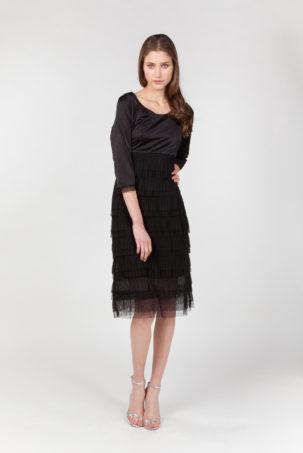 vestido tul plisado negro frontal
