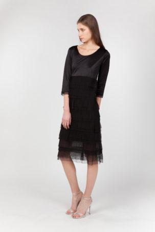 vestido tul plisado negro lateral