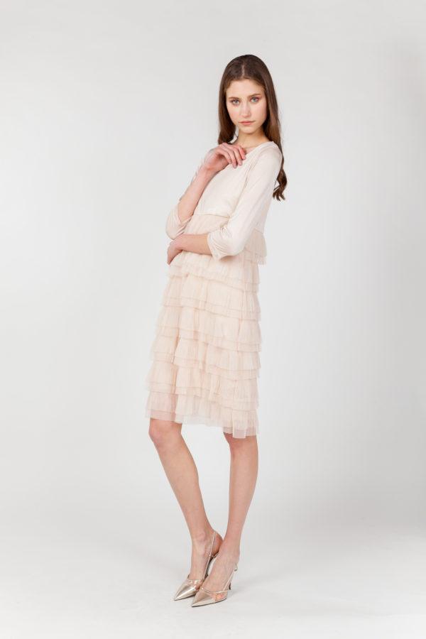 vestido tul plisado rosa lateral