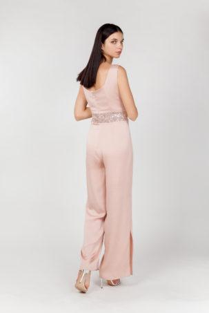 mono rosa lentejuelas espalda