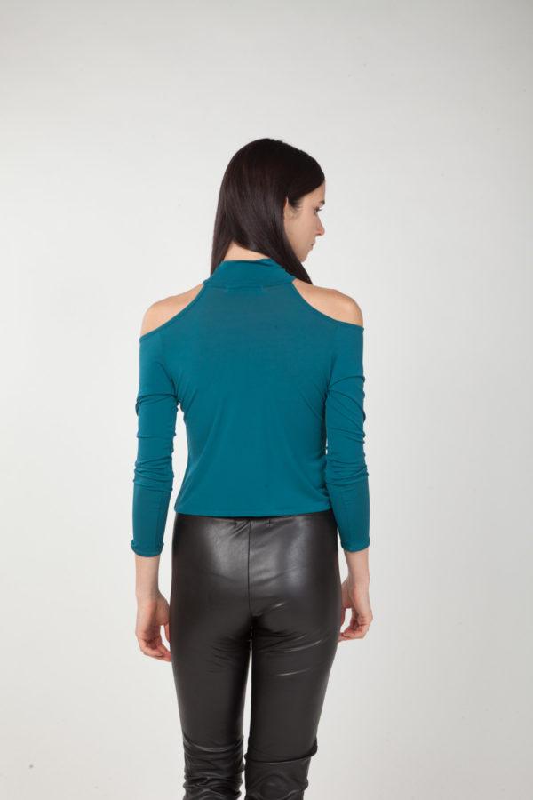 top hombros descubiertos verde espalda