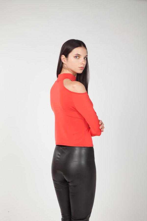 top hombros descubiertos rojo espalda