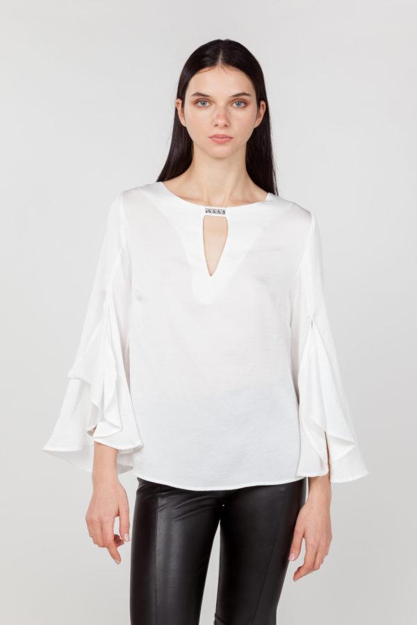 blusa mangas anchas blanca frontal