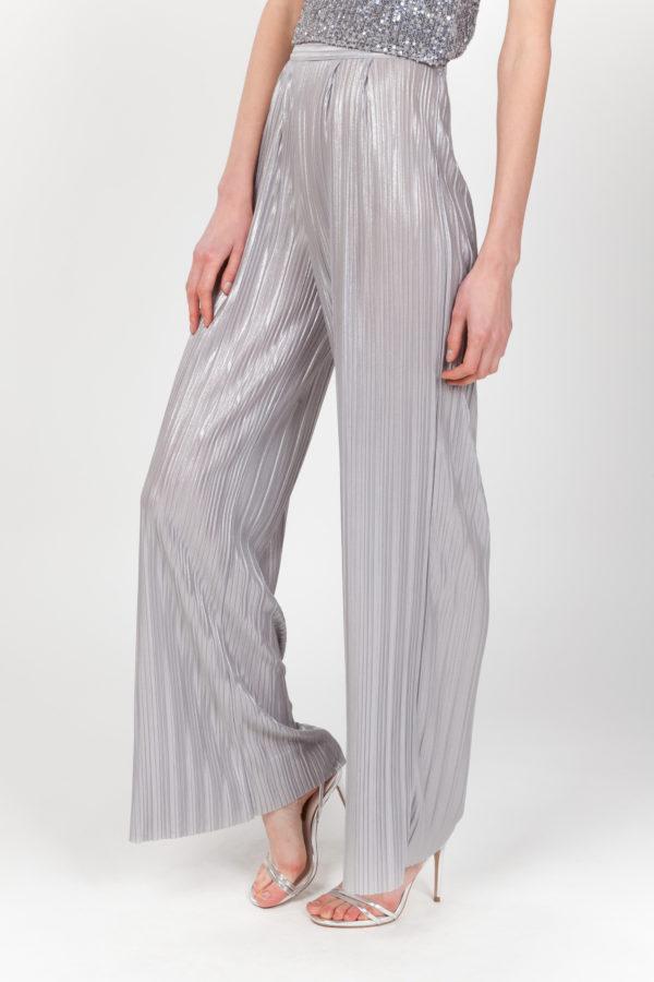 pantalon plisado plateado frontal
