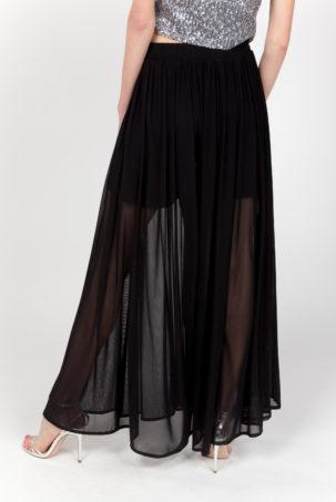 pantalon falda negra espalda