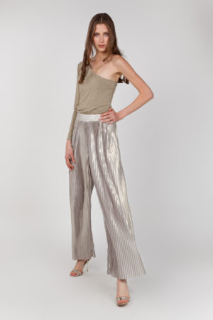 pantalon plisado brillante frontal