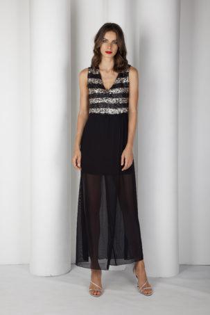 vestido de fiesta lentejuelas plateadas