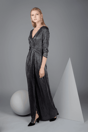 vestido meryl plisado largo